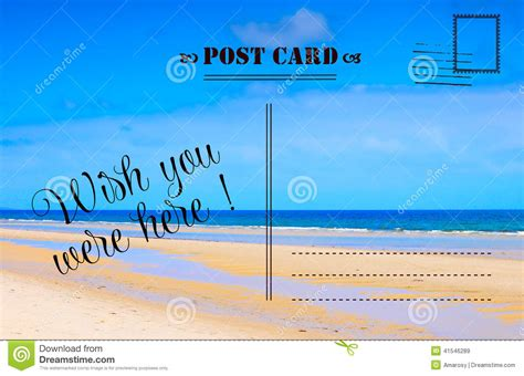 wish you were here summer vacation postcard stock image