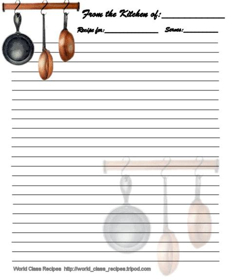 printable recipe card full page printable recipe cards