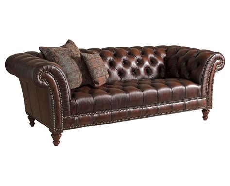 Dark Brown Modern Tufted Leather Sofa Set With Wooden Legs