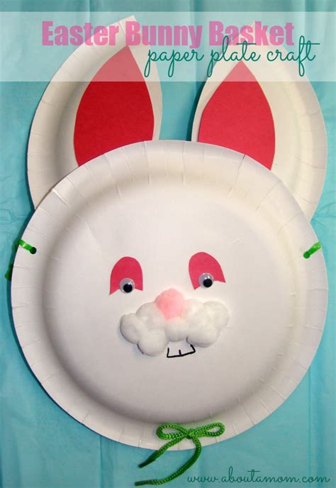 Paper Plate Bunny Craft - easter bunny basket paper plate craft about a
