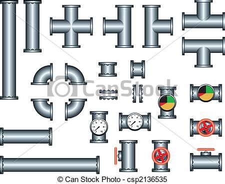 Eps Plumbing Supplies by Clipart Vector Of Plumbing Pipe Construction Set