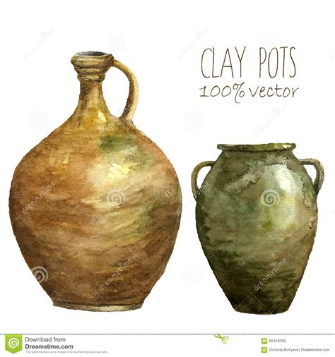 vasi di argilla insieme dei vasi di argilla dipinti con gli acquerelli