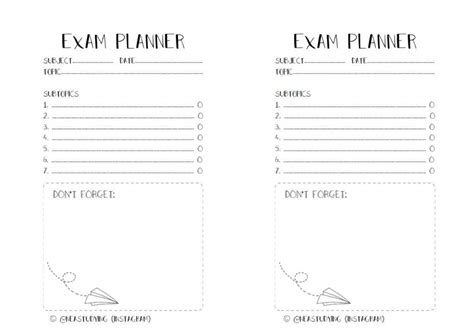 free printable exam planner printable exam planner studying amino amino