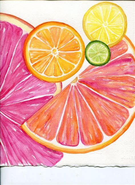 citrus watercolor painting original 8 x 10 tutti frutti grapefruit lemon orange lime