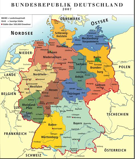 maps of germany with cities and towns germany color map colorful map of germany germany map
