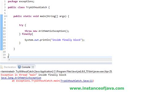 tutorial java try catch can we have try without catch block in java tutorial java