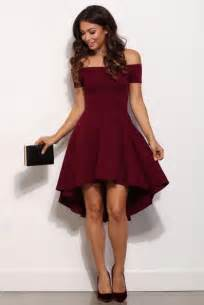 off the shouler prom dress burgundy party dresses hi low