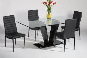 Dining Table Chairs Glass Top Black Gloss Base Dining Table W Optional Chairs
