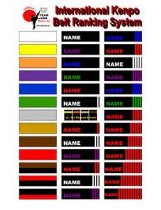 belt colors in karate kenpo belt ranking system