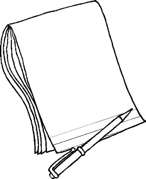 Book And Pen Coloring Pages Coloring Paper For