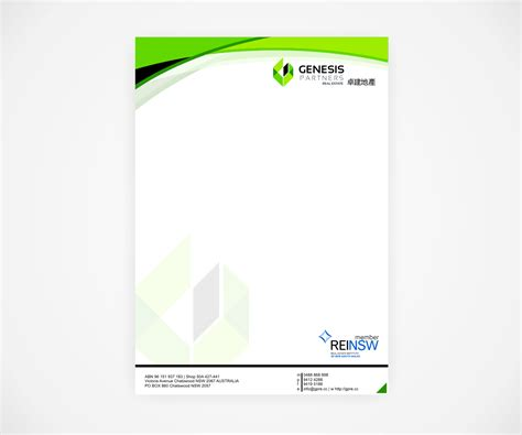 make a blue print serious modern letterhead design for genesis partners