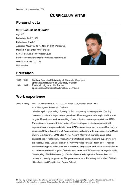 Cv For by Curriculum Vitae Resume Cv