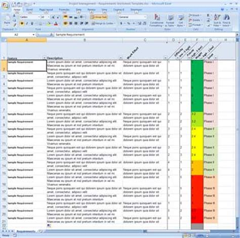 Project Requirements Template Excel requirement gathering template for software filedata