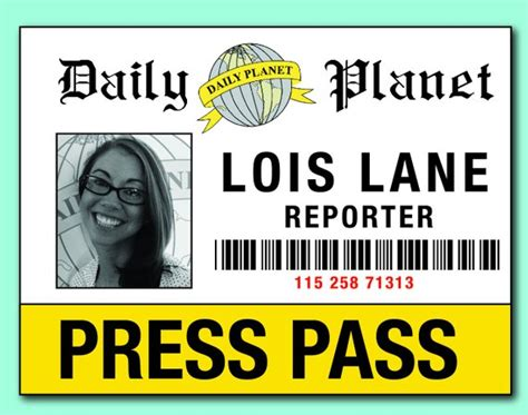 Items Similar To Digital File Lois Clark Press Pass Badge For Costume Add Your Picture On Etsy Press Pass Template