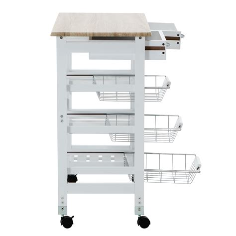 Kitchen Rolling Cart With Drawers by Oak Kitchen Island Cart Trolley Portable Rolling Storage