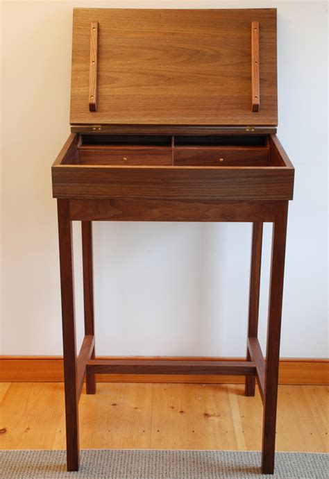 handmade walnut stand up writing desk made in vermont
