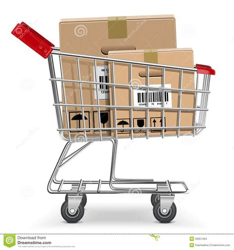 Supermarket Box vector supermarket cart with box stock images image 33951264