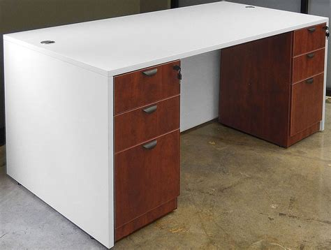 white office desk with drawers white woodgrain 4 piece office furniture package
