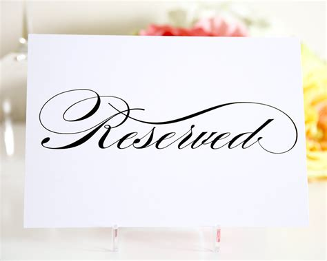 reserved table sign for your wedding by shineinvitations
