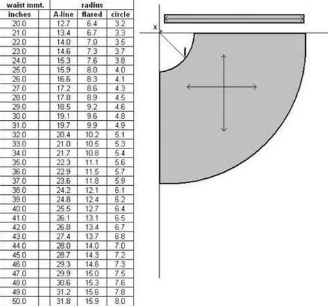 shirt pattern calculator circle skirt chart clothing