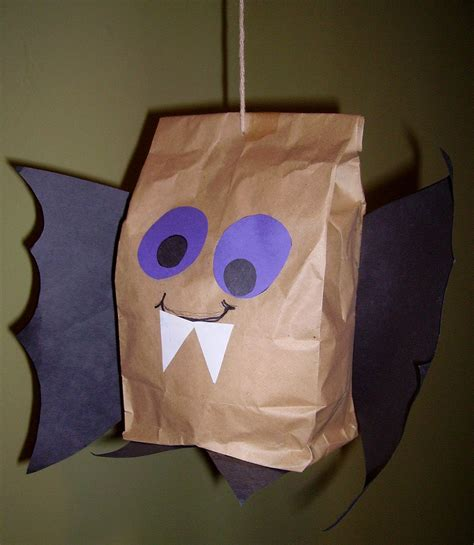 Brown Paper Bag Crafts For Preschoolers - brown paper bag bat glitter