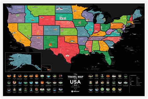usa scratch map travel map 174 of the usa black byu scratch black usa map in
