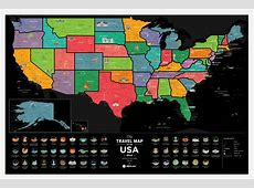 〚Travel Map® of the USA Black〛Byu Scratch black usa map in ... Manly Gifts For Him