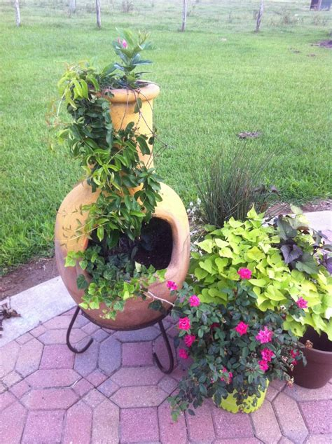 chiminea planter chiminea used for a pot for vines and garden