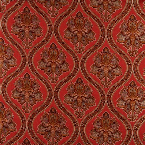 Drape Fabrics A0016g Red Brown Gold Ivory Traditional Brocade Upholstery