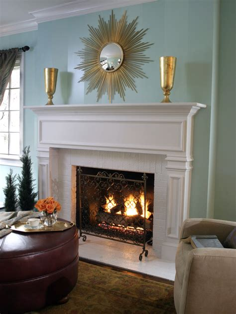 decorative wall fireplace blue living room with white brick fireplace hgtv