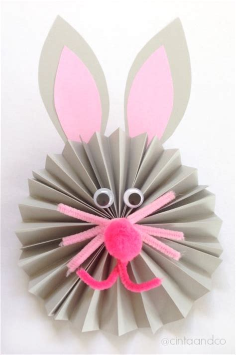 Paper Fan Origami - paper fan bunny craft housing a forest