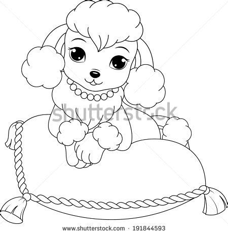 poodle puppy coloring page poodle coloring page stock vector 191844593 shutterstock