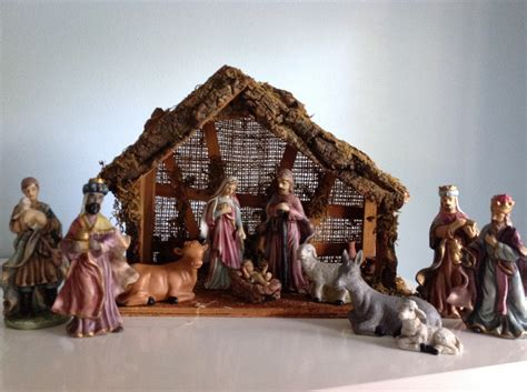 vintage porcelain nativity set with stable christmas nativity