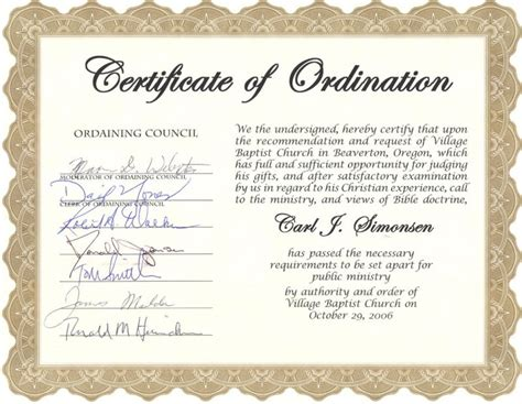 ordination certificate template carl simonsen s pastoral support ministry