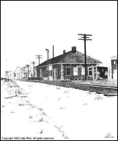 1980 drawing of jonesboro ga station by artist dale
