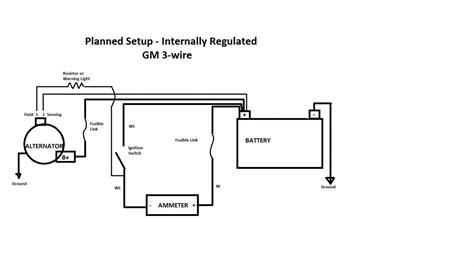 using 3 wire alternator wiring diagram ammeter wiring