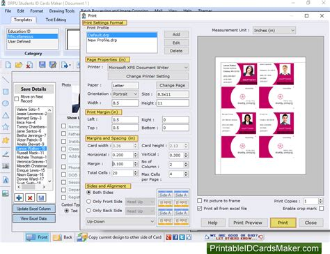 printable id cards maker student id cards maker software screenshots to design