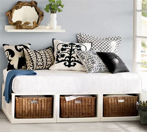 daybed with baskets stratton storage platform daybed with baskets pottery barn