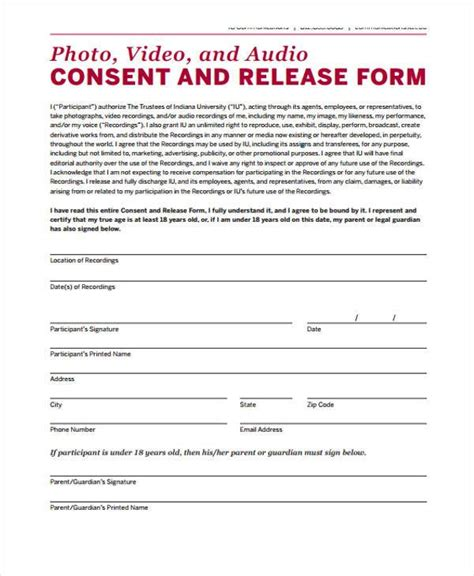 consent for release of information template release form templates