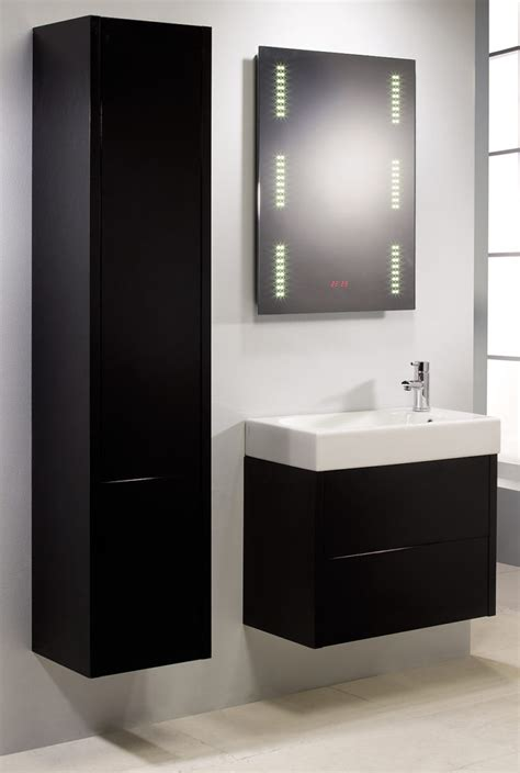 Black Bathroom Cabinet Bathroom Black Rectangle Vanity With White Sink Plus Light Mirror Added Black Floating Storage