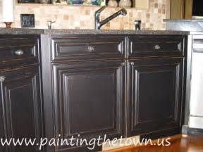 Black Distressed Kitchen Cabinets Painted Kitchen Cabinets Mediterranean Kitchen