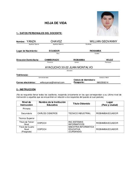 Curriculum Vitae Modelo Para Completar Docente Curriculum Vitae