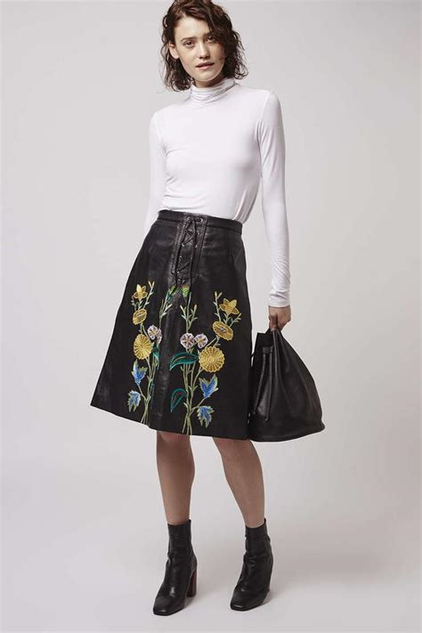 embroidered leather skirt endource