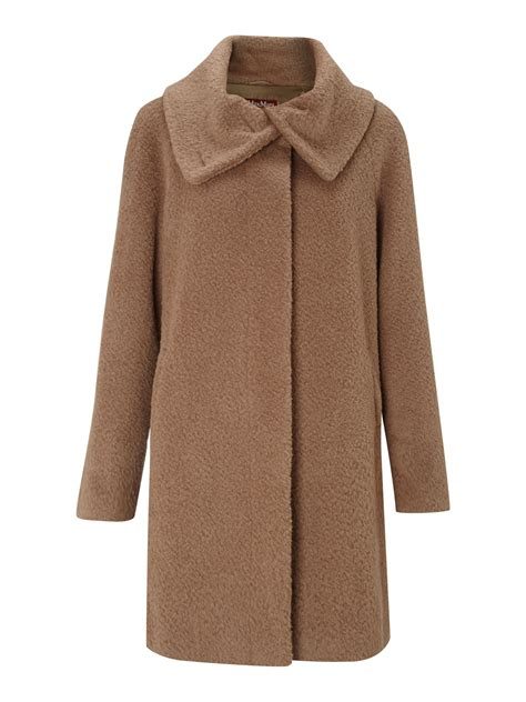 max mara studio marisa alpaca short coat  brown lyst