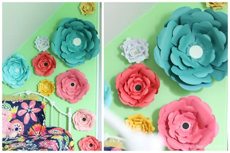 How To Make Paper Wall Flowers - big bloom paper flower wall decor sugar bee crafts