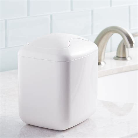 bathroom trash can with swing lid durable plastic trash can for bathroom vanity countertops