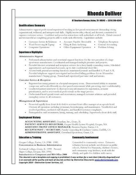 resume professional summary exles career summary for administrative assistant resume 28
