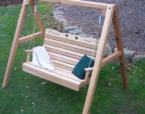patio swing with stand creekvine designs cedar wood royal hearts porch swing with