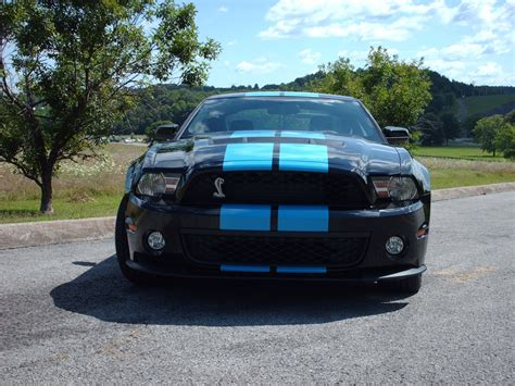 black mustang with grabber blue stripes black 2010 ford mustang shelby gt 500 coupe