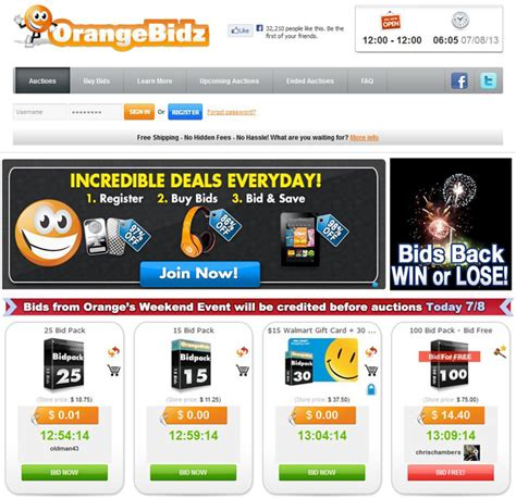 Best Penny Auction Sites For Gift Cards - orangebidz com reviews best penny auction sites